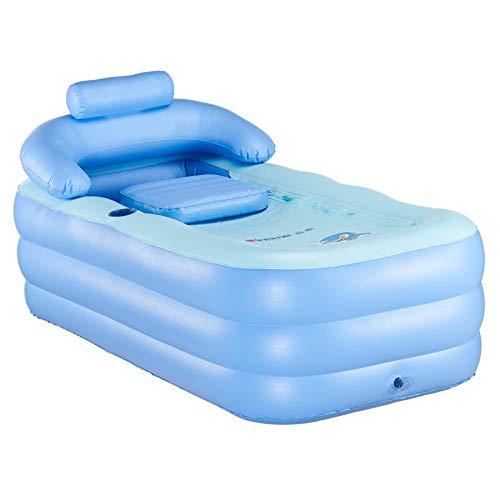 CO-Z Faltbares Badewanne Schlauchboot Pool Dicke Warme Spa-Badewanne Erwachsene Badewanne Kinder Aufblasbares Becken mit Nackenkissen und Luftpumpe