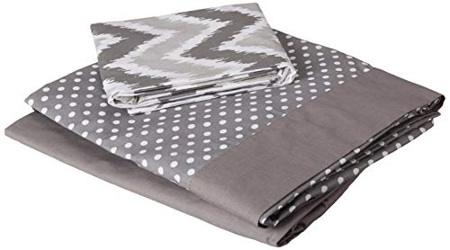 Bacati 3 Piece Mix and Match Zigzag/Dots Toddler Bed Sheet Set, Grey
