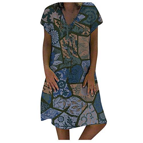 Eaylis Damen Sexy ärmellose Kleider Lange Kleider mit V-Ausschnitt Mode Casual Print Kleider