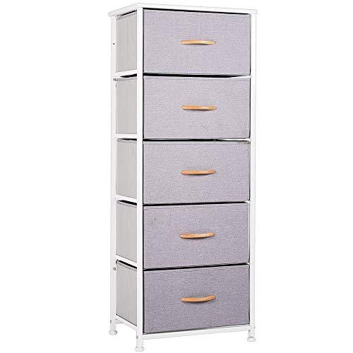WAYTRIM Vertical Dresser Storage Tower with 5 Drawers - Gray