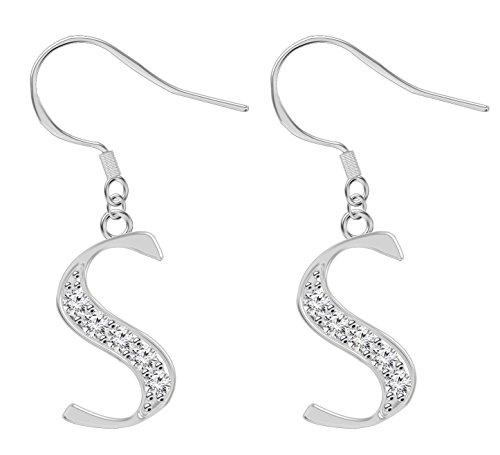 Orecchini a forma di lettera desiderata, placcati in argento, con diamante sintetico. e Argento, colore: Iniziale S, cod. EARSTO211-S-CL