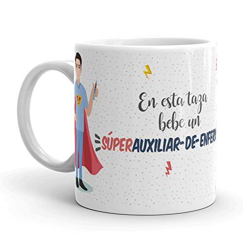 Kembilove Taza de Café Profesiones – En Esta Taza Bebe un Súper Auxiliar de Enfermería – Taza de Desayuno para la Oficina – Taza de Café y Té de Auxiliares de Enfermería Superhéroes