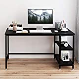 Yoleo Computer Desk 47.2 inch Modern Style Home Office Desk with 2 Storage Shelves Workstation for Home Office Work Study Adjustable feet Modern Furniture for Home Office Black