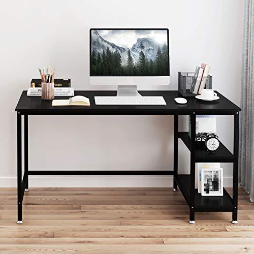 YOLEO Schreibtisch Computertisch Bürotisch 120 x 60 x 75 cm für Zuhause Büro Arbeitszimmer Home Office mit verstellbaren Füße 2 Regalfächer Schwarz