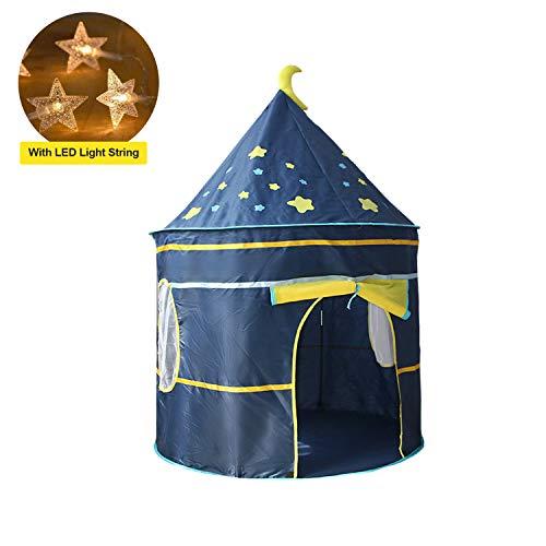 EPCHOO Kinder Spielzelt, Prinzessinnenschloss Tipi Spielzelt Ritterburg Stoffzelt Spielhaus für innen und außen mit LED-Lichterkette, Geschenk für Kinder
