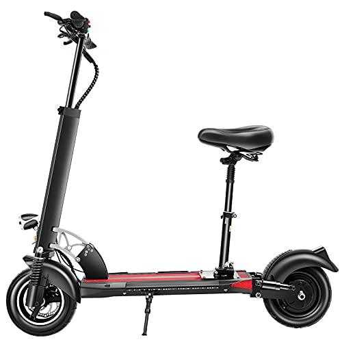 DDH Scooter eléctrico, duración de la batería 20-30 km, Scooter Adulto eléctrico eléctrico eléctrico de 10 Pulgadas con Asiento, Scooter eléctrico Simple y portátil-White