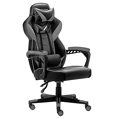 Gaming Chair High Back PC Racing Office Chair Executive Ergonomic Adjustable Swivel Task Chair Leather Desk Chair with Headrest and Lumbar Support Gray