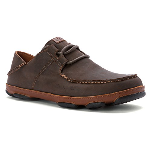 OLUKAI Ohana Lace Up Nubuck Dark Wood/Toffee 11