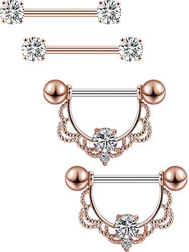 2 Pares de Anillas de Pezón de Acero Inoxidable Piercing de Pezón de Banana CZ Aro de Diamantes de Imitación Joyería de Piercing de Cuerpo Lengua Pezón (Barra Dorada Rosa)