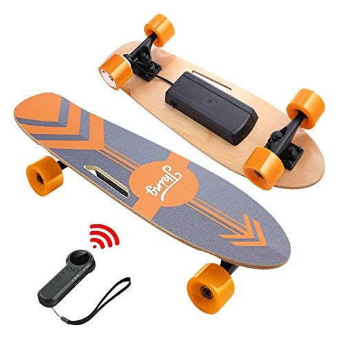 DEVO Electric Skateboard, 12 MPH Top Speed, 350W Singal Motor, 10 Miles Range, Load up to 220Lbs,7 Layers Maple Longboard, Wireless Remote E-Skateboard for Adult Teens
