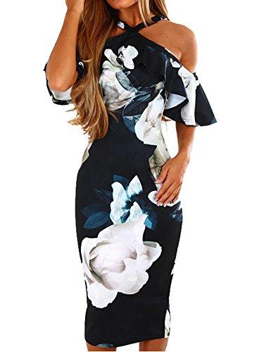 Murimia Womens Dresses Summer Off The Shoulder Ruffle Floral Print Bodycon Midi Dress Navy Blue (Apparel)