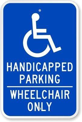qidushop Metall Türschild Behinderte Parking Rollstuhl Nur Aluminium Wand Poster Yard Zaun Decor Schild Geschenk 30x 45cm