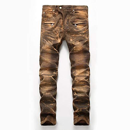 ShFhhwrl Vaqueros de Moda clásica Denim Designer For Men's Bike Moto Jeans Stretch Straight Oversize Primavera Otoño Invierno Hip