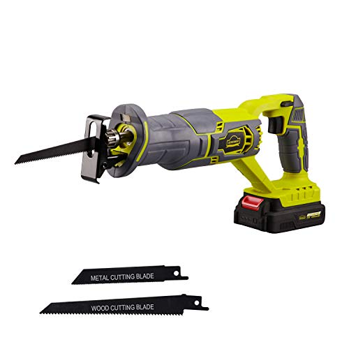 DEWINNER Cordless Reciprocating Saws 20V 2.0Ah Compact Saw w Li-Ion Battery&Charger, 2 Saw Blades, Variable Speed, 22cm Stroke Length, Tool-Free Blade Change Ideal for Metal & Wood Cutting Pruning