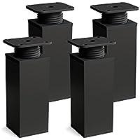 Patas para muebles, 4 piezas, altura regulable | Perfil cuadrado: 40 x 40 mm | Sossai® MFV1-BM | Diseño: Negro Mate | Altura: 120mm (+20mm) | Material: Aluminio | Tornillos incluidos
