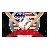 黒野球アメリカ国旗, バスタブマット滑り止め防カビバスルームシャワーマット吸盤付きフットマット100%無毒15.7x27.9インチ