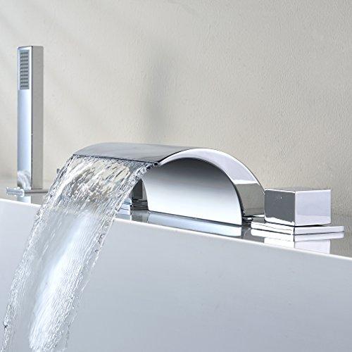 KINSE Chrom Badewannenarmatur DIY 5-Loch Wasserhahn für Badewanne Armatur Wasserfall