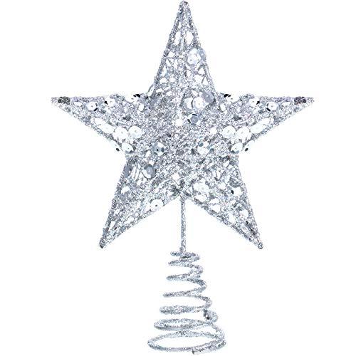 Blulu 6 Zoll Stern Baum Spitze Exquisit Schimmernd Weihnachtsbaum Topper für Christbaum Dekoration (Silber)