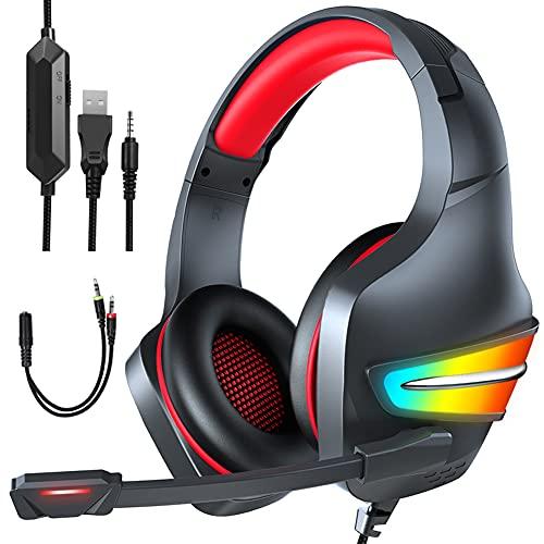 POTIKA J6 7.1 Fones De Ouvido Para Jogos Com Som Estéreo Surround, Fones De Ouvido Para Jogos Com Microfone RGB Luminoso, Cancelamento De Ruído Sobre Os Fones De Ouvido Para Ps4/PC/Laptop, Vermelho