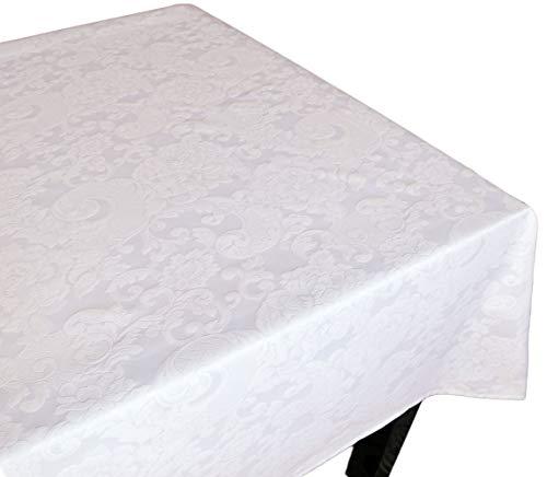 Centesimo Web Shop Tovaglia Fiandra in 10 Misure 2 Colori Classica Soggiorno Sala Jacquard Tinto Filo Italia - Bianco - 150x350 cm + 16 tovaglioli