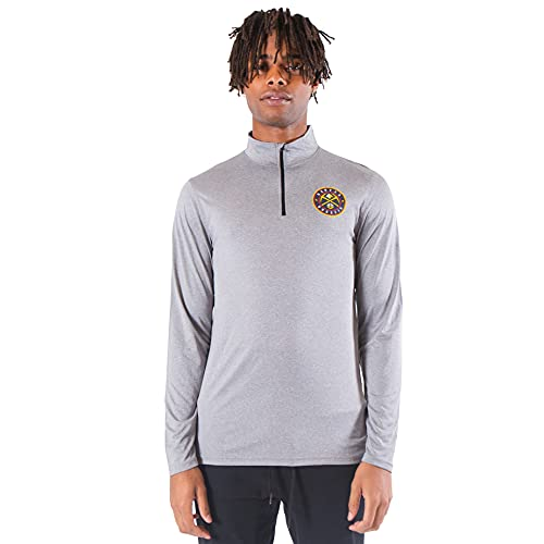 Ultra Game NBA Denver Nuggets Mens Quarter Zip Pullover Long Sleeve Tee, Heather Charcoal19, X-Large