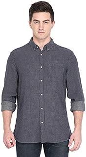 Marc Gibaldi Men's Navy Jaqard Cotton Slim Fit Casual Shirt