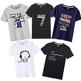 Tシャツ 半袖 服 メンズ 夏 5点セット 綿100% インナーシャツ 5枚組 カジュアル カットソー ファッション 丸襟 柔らかい 快適 (混色, XXL=日本L) …
