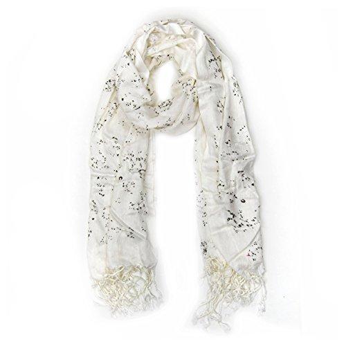 MANUMAR Schal für Damen | Hals-Tuch in weiß schwarz mit Blumen Motiv als perfektes Herbst Winter Accessoire | Klassischer Damen-Schal | Stola | Mode-Schal | Geschenkidee Frauen und Mädchen