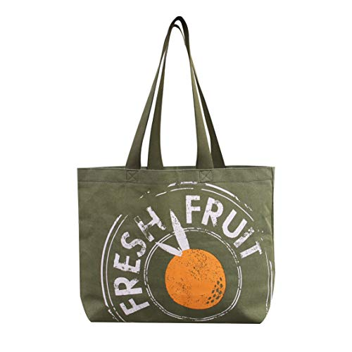 Reusable Grocery Bag Shopping Tote Extra Large Heavy Duty 12 oz Cotton Canvas Multi Purpose Durable & Machine Washable Proudly Made in the USA (Farm to Table Sage)