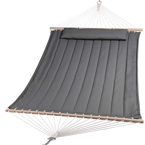 SUNCREAT Double Hammock for 2 Person, Extra Large Outdoor Portable Hammock with Hardwood Spreader...