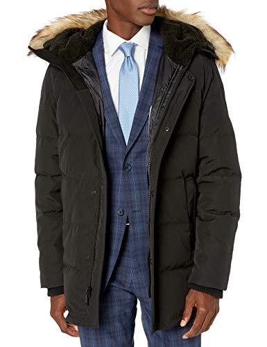 Vince Camuto Men's Down Warm Winter Coat Parka, Black, Medium