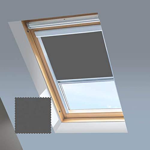 Classic Roof Blinds Skylight - Estor para Ventanas de Techo Velux - Estor Opaco - Gris tormenta - Marco de Aluminio Plateado, C06