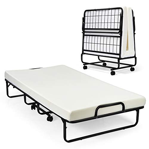 """Giantex Metal Folding Bed with Mattress, Rollaway Guest Beds w/Super Sturdy Metal Frame and 4"""" Foam Mattress for Adults, Easy Storage, Portable Bed on Wheels for Office Room Living Room- Twin Size"""