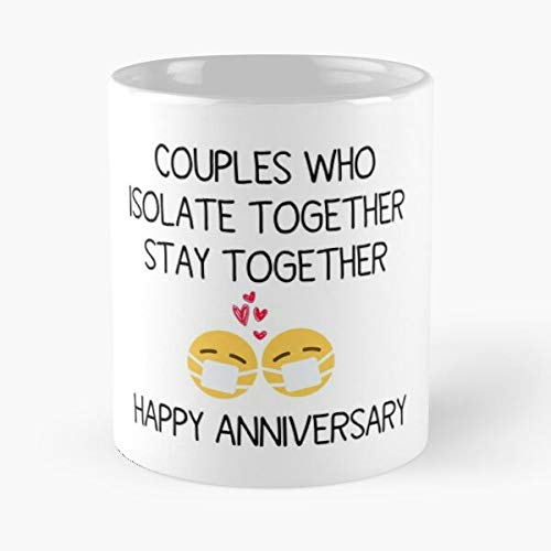Quarantine Social Anniversary Quarantined Chill Distance And Printable Isolation Funny Couples Best Mug holds hand 11oz made from White marble ceramic