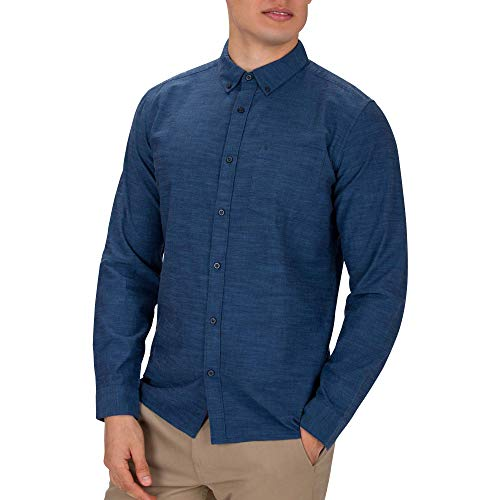 Hurley M One&Only Woven L/S Camisas, Hombre, Obsidian, M