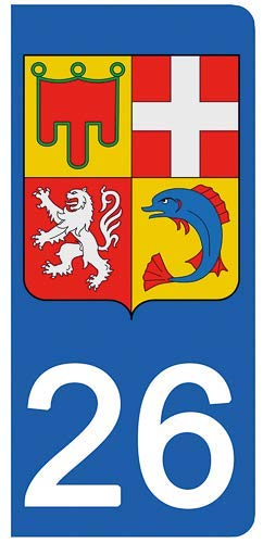 DECO-IDEES 2 Stickers pour Plaque d'immatriculation, 26 Drôme- Stickers Garanti 5 Ans