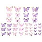 BESTOYARD 36 Piezas de Adornos de Pastel de Mariposa Decoración de Pastel de Cupcake de Animal de Dibujos Animados Lindo para Cumpleaños Aniversario de Bodas Suministros para Fiestas