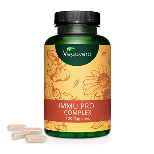 Immu Pro Complex Vegavero® | 100% Vegetal | Equinácea + Vitamina C + Jengibre + Vitamina D3 + Zinc + Selenio | Suplemento Para Sistema Inmunitario* | 120 Cápsulas | Sin Aditivos Artificiales