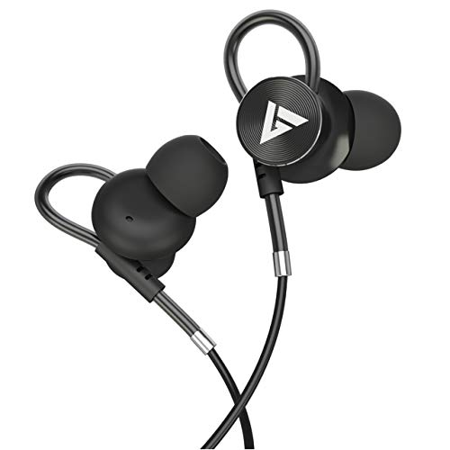 Boult Audio BassBuds Loop in-Ear Wired Earphones with 12mm Powerful Driver for Extra Bass with Customizable Ear Loop & Mic (Black)