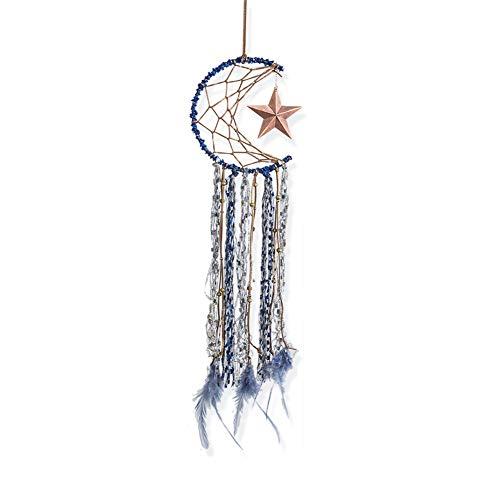 Dsaren Atrapasueños Indio Hecho a Mano Medio Circulo Luna Estrella Plumas Colgantes Dream Catcher Decoration del Hogar Habitación Pared Coche Adorno Regalos (Azul)