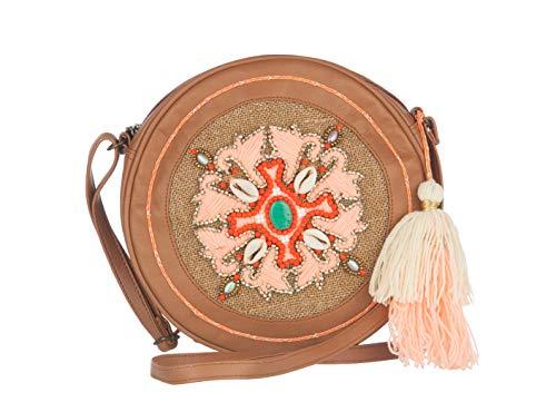MAYA handbags Bolsa redonda ARWEN para Mujer-Marrón y Salmón