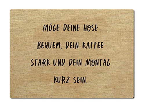 Interluxe houten briefkaart maakt je broek comfortabel, je koffie sterk en je maandag kort zijn. DIN A6 105x148 mm kaart echt hout spreuk liefdesverklaring