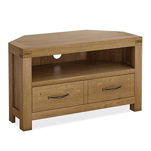 Abbey Grande 90cm Small Oak Corner TV Cabinet Unit for Living Room | Roseland Furniture Traditional Rustic Solid Wood Television Stand Media Centre for Lounge or Bedroom | Fully Assembled