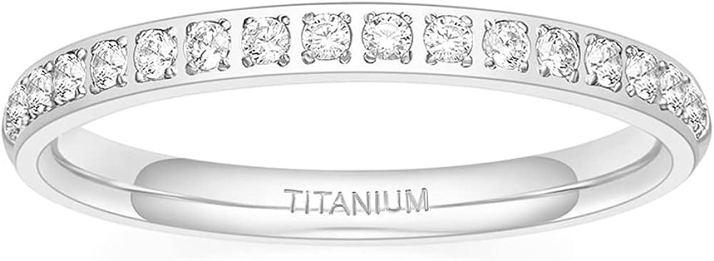 TIGRADE 2mm Women Titanium Eternity Ring Half Cubic Zirconia Anniversary Wedding Engagement Band