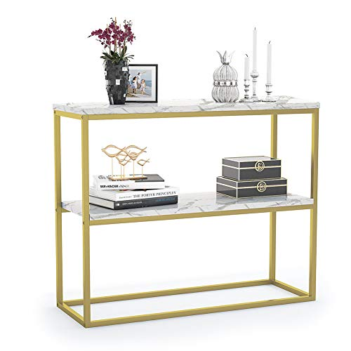 high Console Table, Hallway Table with 2 Shelves, Side Table with Iron Tube Frame for Hallway,Entryway,Living Room, White+Gold,Sturdy and Easy Assembly