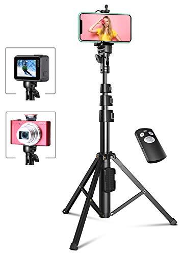 Bovon Trépied Smartphone, 133cm Extensible Perche Selfie Trépied Stable avec Télécommande Bluetooth Détachable Compatible avec iPhone 12 Pro Max/12 Mini/11 Pro/XS Max/XR/X/Se, Samsung, Gopro, Caméra