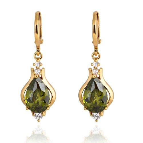Yazilind Elegante diseño único 14K Gold Filled Inlay Teardrop Pendientes largos cuelgan Verde Cubic Circonita para la Mujer