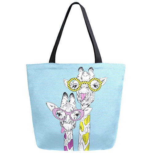 ZzWwR Cute Cartoon Couple Giraffe with Sunglasses Extra Large Canvas Market Beach Travel Reusable Grocery Shopping Tote Bag Portable Storage HandBags
