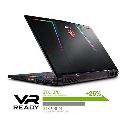 "MSI GE63 Raider RGB-010 15.6"" 120Hz 3ms Performance Gaming Laptop GTX 1070 8G i7-8750H (6 Cores) 16GB 256GB SSD + 1TB Per Key RGB KB, VR Ready, Metal Chassis, Windows 10 64 bit"
