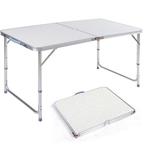 DXP Campingtisch aus Aluminium Gartentisch Höhenverstellbarer Klapptisch Koffertisch 120 x 60 cm praktisches Kofferformat AFT-02